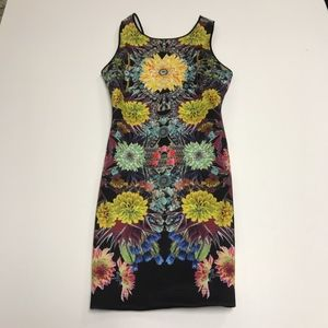 Clover Canyon Kaleidoscope Floral Body Con Dress